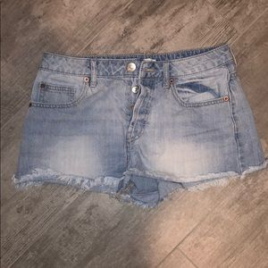 Button up jean shorts